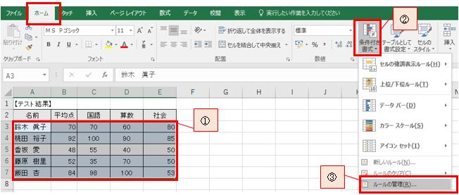 セルに入力する数値によって、セルの色を変える方法-6