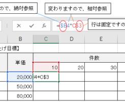 数式をコピーしたときに計算式がくずれないようにする方法(複合参照)-2