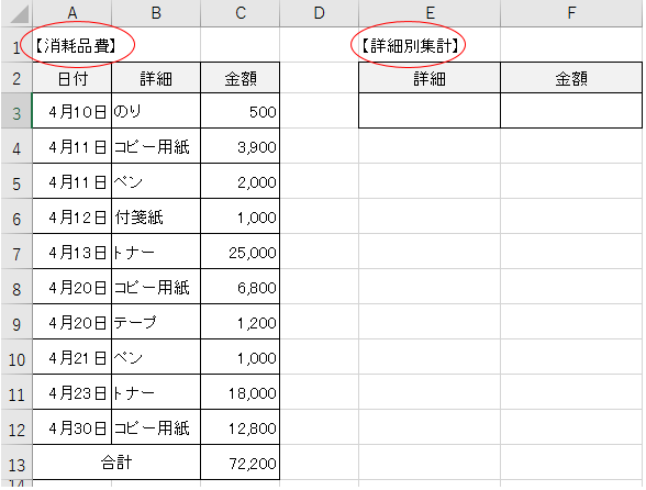 条件に合うデータを合計する計算式-1