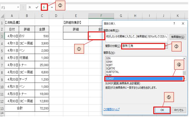 条件に合うデータを合計する計算式-2