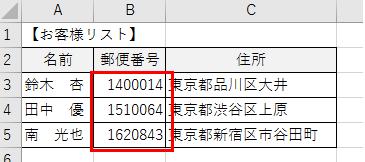 セル内に郵便番号のーを付ける方法、削除する方法-1