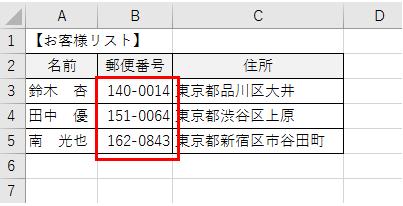 セル内に郵便番号のーを付ける方法、削除する方法-4