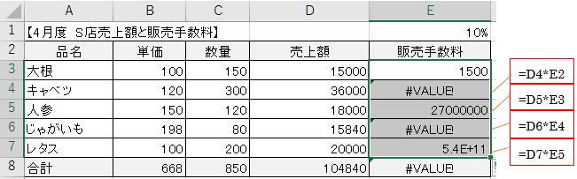 数式をコピーしたときに計算式がくずれないようにする方法-4