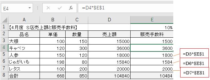 数式をコピーしたときに計算式がくずれないようにする方法-6