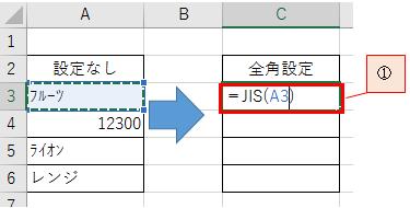 文字を半角から全角または全角から半角に変換する方法-1