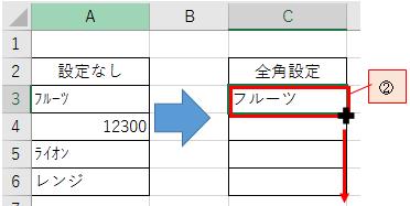 文字を半角から全角または全角から半角に変換する方法-2