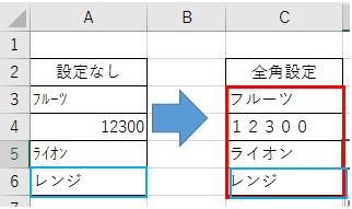 文字を半角から全角または全角から半角に変換する方法-3