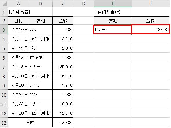 条件に合うデータを合計する計算式-6