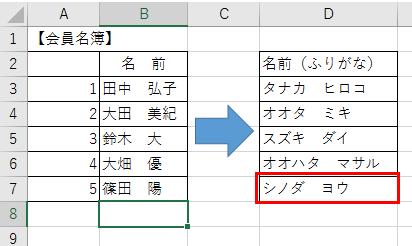 漢字にふりがなを別セルに表示させる方法-10