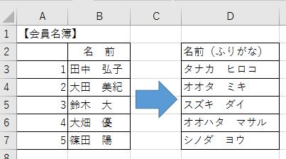 漢字にふりがなを別セルに表示させる方法-6